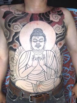 阿弥陀如来、総身彫りの刺青和彫り