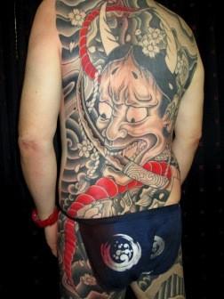 般若と大蛇刺青和彫り