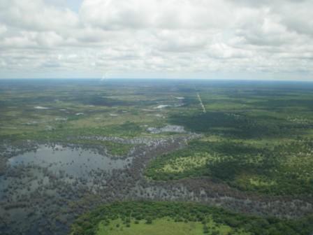 Okawangodelta aus der Chessna betrachtet