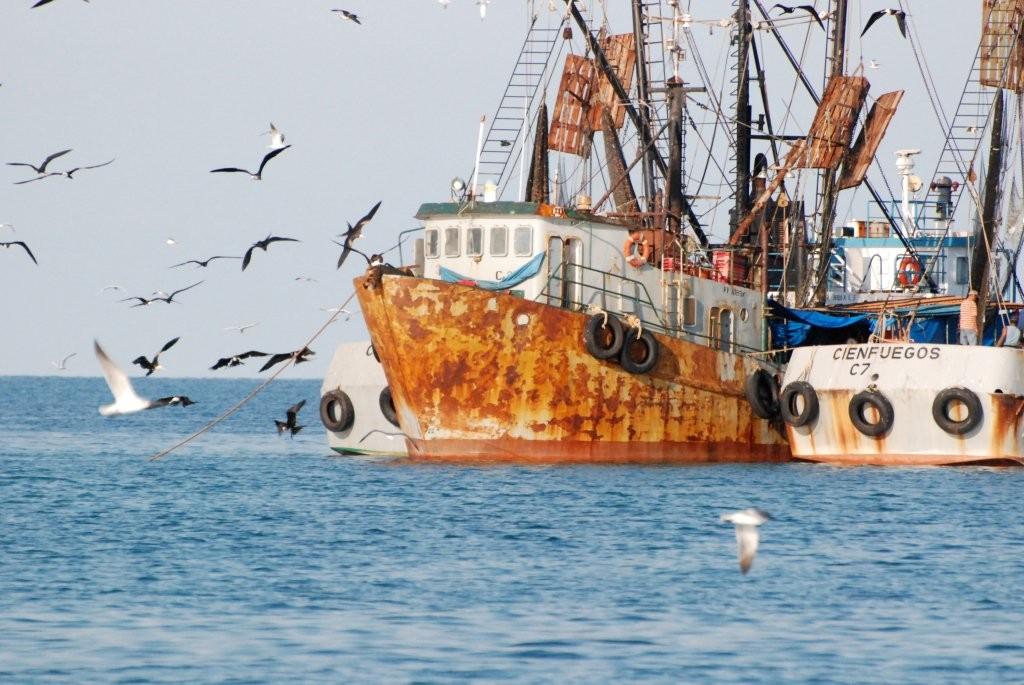 Fischer mit Schleppnetzen