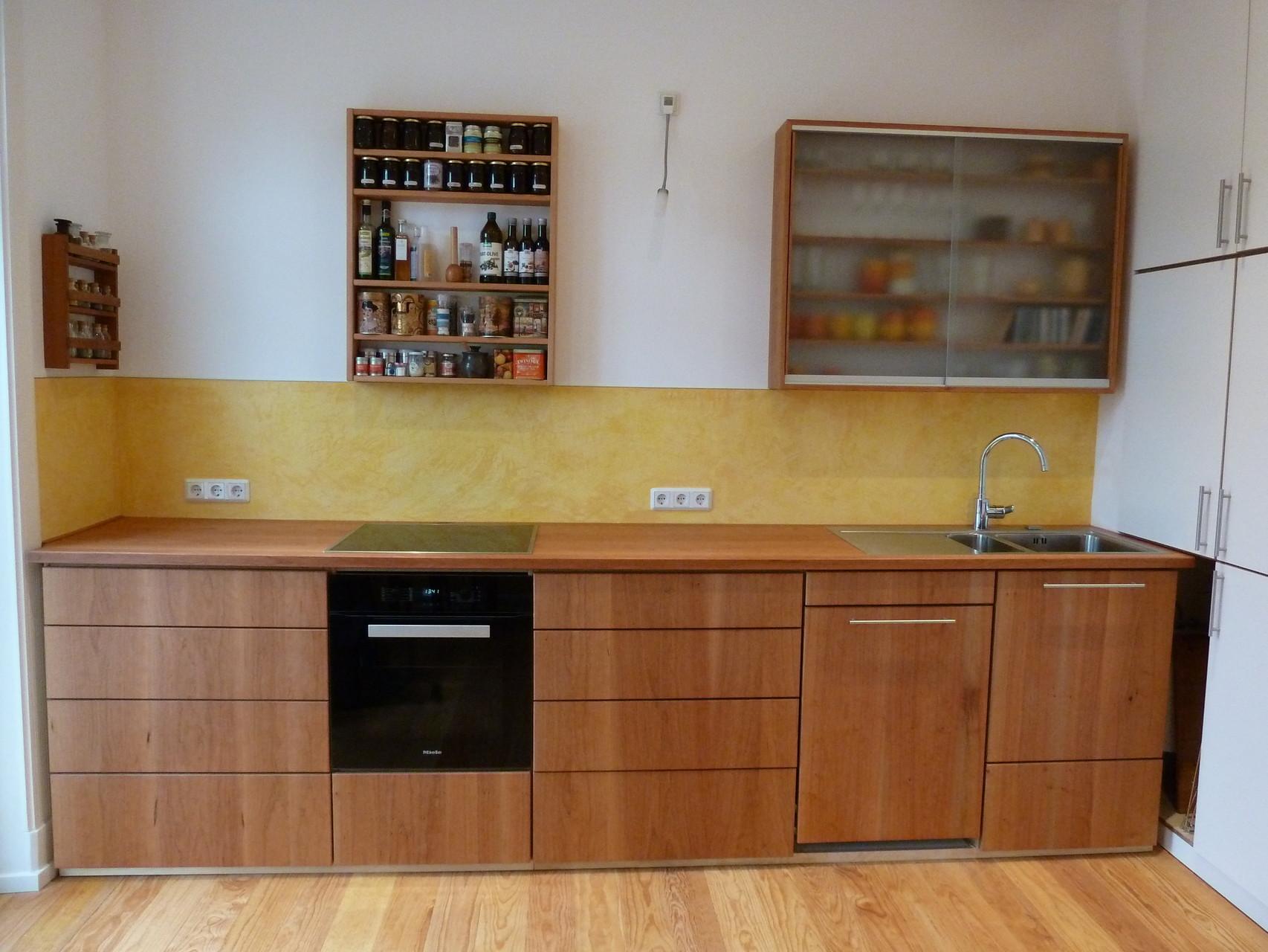 große Küchenzeile, 3,50m , Arbeitsplatte und Fronten aus amerk. Kirschholz