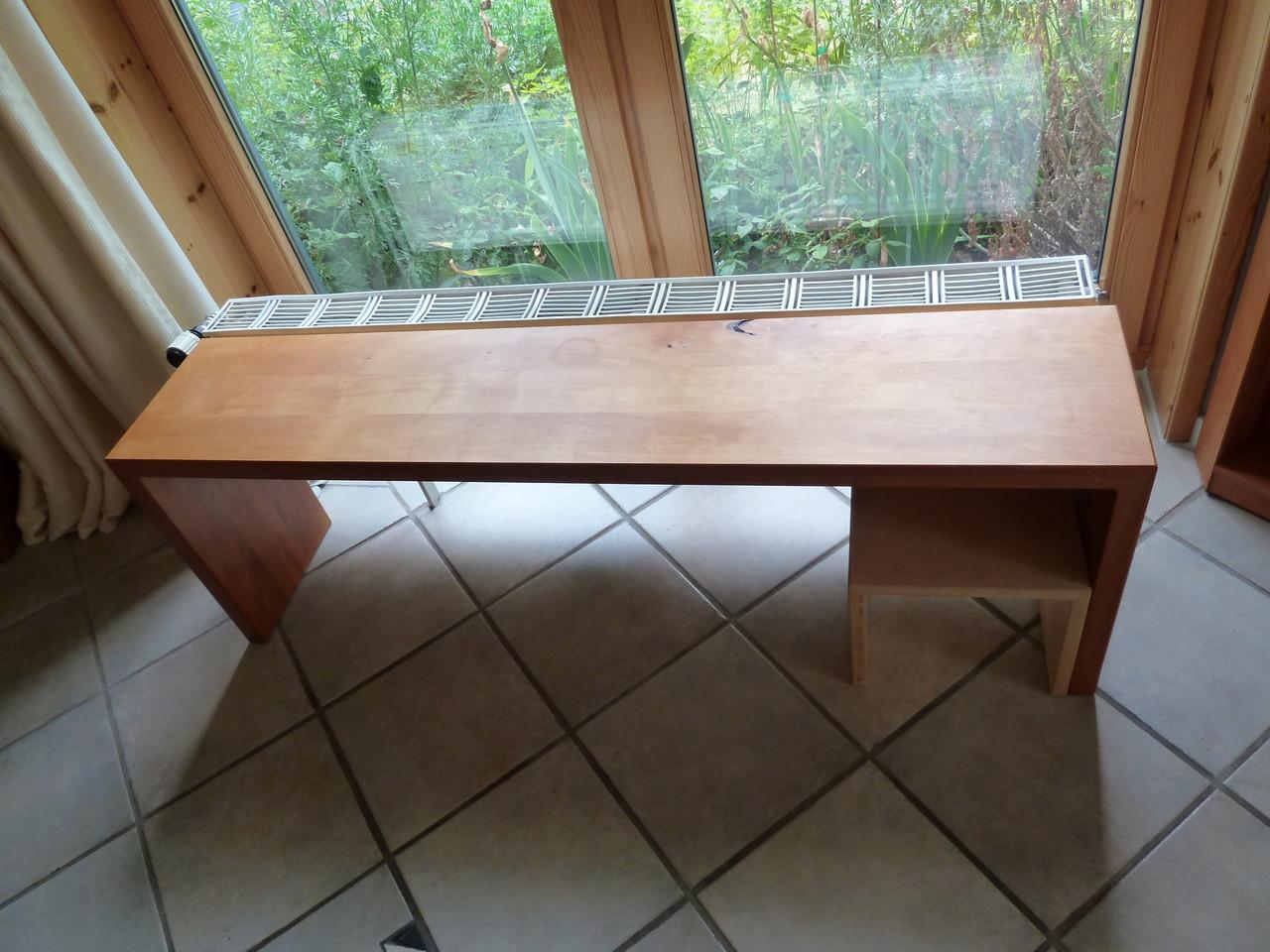 Sitzbank aus Elsbeere, natutgeölt + Kindersitzhocker aus Ahornholz