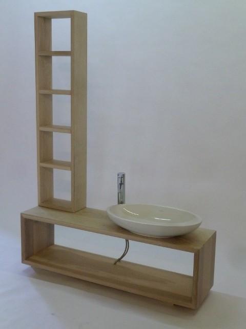 Waschtisch und Regal aus Eichenholz, Oberfläche weiß lasiert