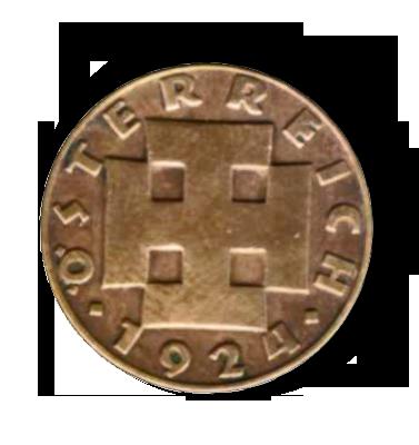 Rückseite einer Zweigroschenmünze, Österreich, 1924