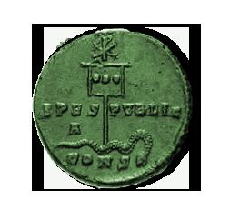 Münze aus der Regierungszeit Konstantins mit der Darstellung des Labarum, erste Hälfte des 4. Jahrhunderts