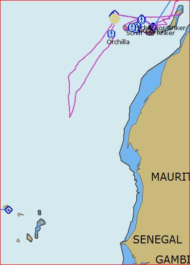 Unser Tack auf die Cape Verdes, ca. 400 Sm vorm Ziel gewendet...