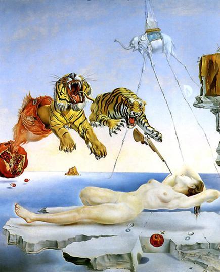 Salvador Dalí, Rêve causé par le vol d'une abeille autour d'une grenade une seconde avant l'éveil,  1944 © Musée Thyssen-Bornemisza, Madrid