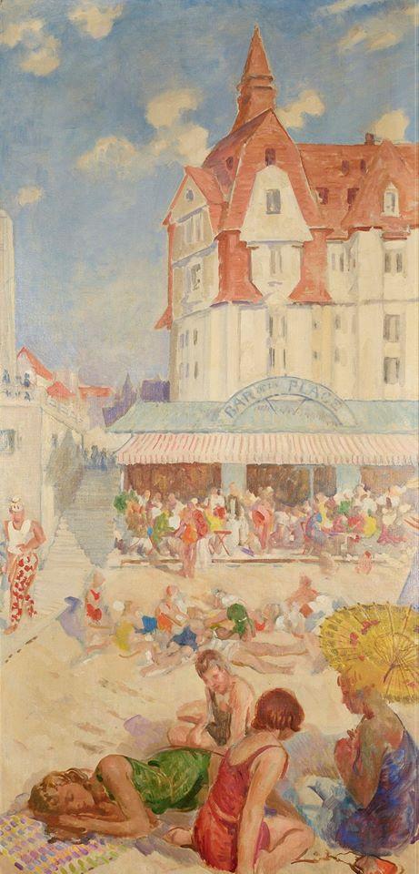 Francis Edwin Hodges, Bar de la plage et le Grand Hôtel, 1929 © Musée du Touquet-Paris-Plage /Bruno Jagerschmidt