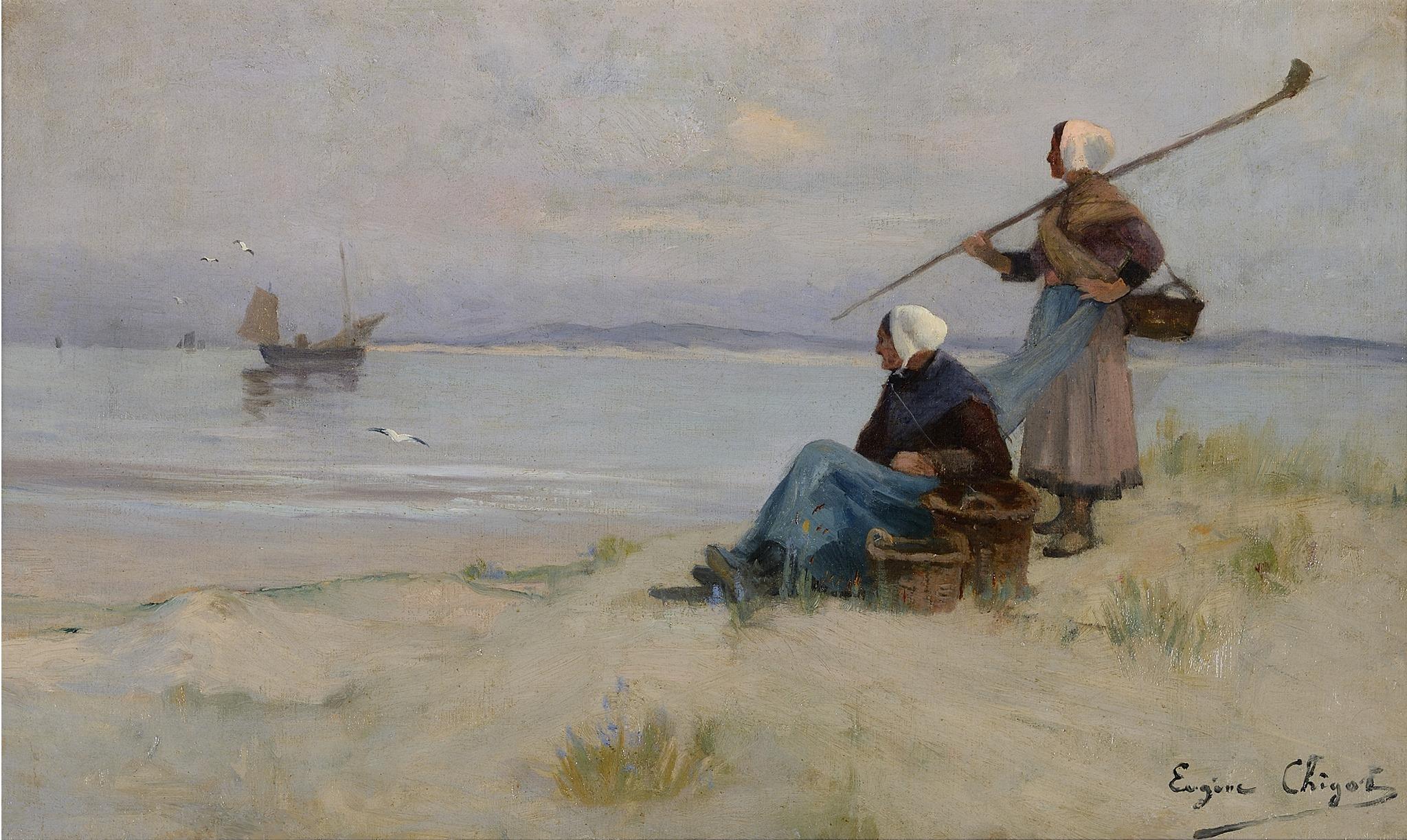 Eugène Chigot, Femmes de pêcheurs scrutant l'horizon, 1894 © Musée du Touquet-Paris-Plage /Bruno Jagerschmidt