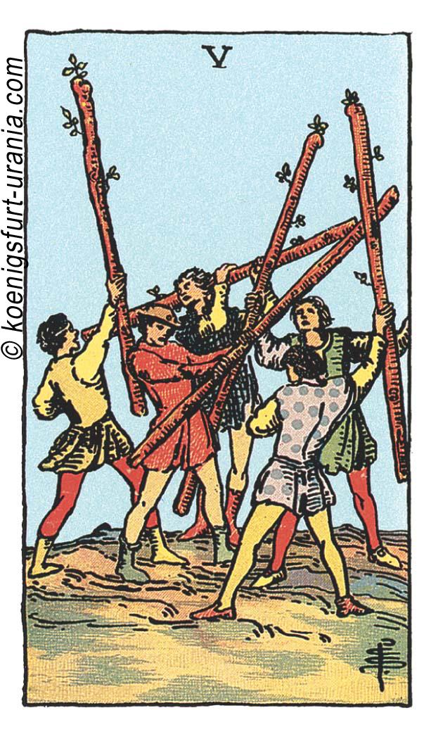 Fünf der Stäbe im Tarot für Liebe, Sexualität, Beruf, Dualseelen & Seelenpartner im Tarot