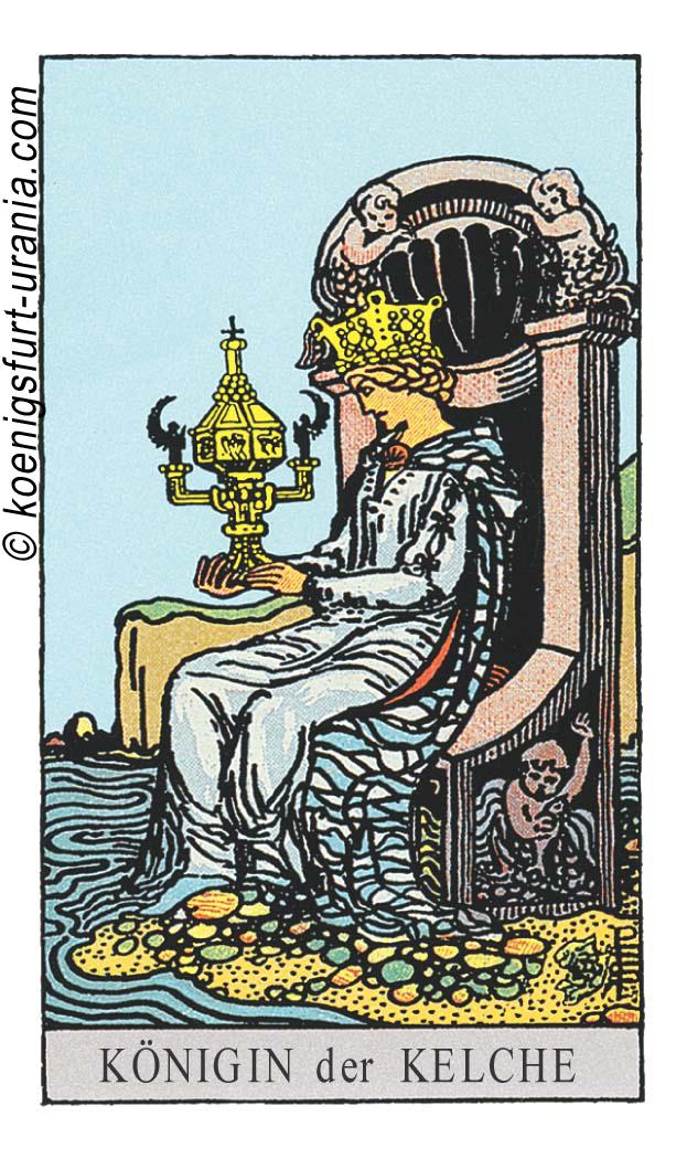 Königin der Kelche im Tarot: für Liebe, Beruf, Seelenpartner & Dualseelen