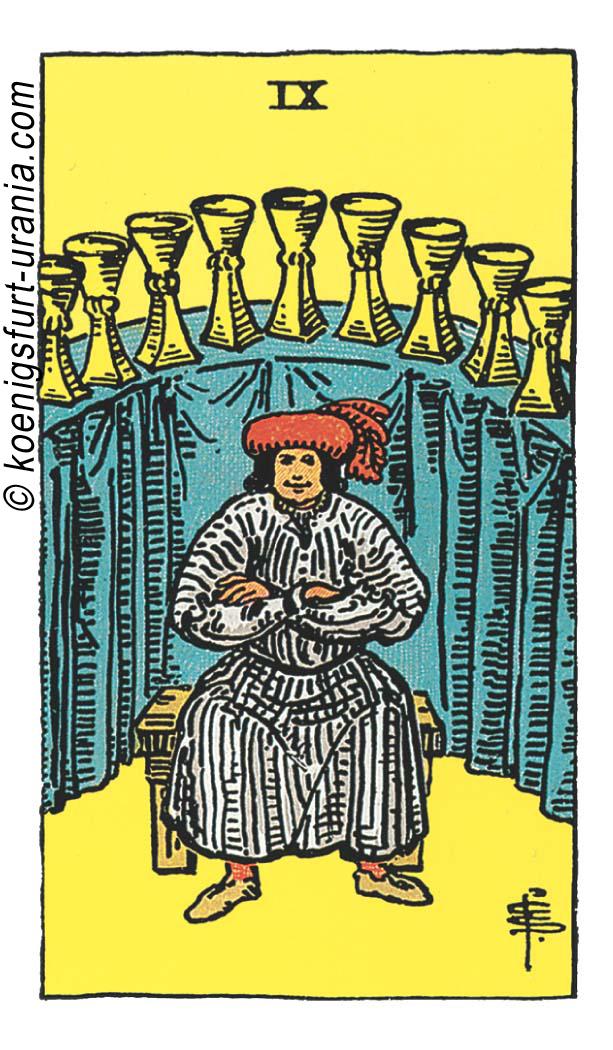 Neun der Kelche im Tarot: für Liebe, Beruf, Seelenpartner & Dualseelen