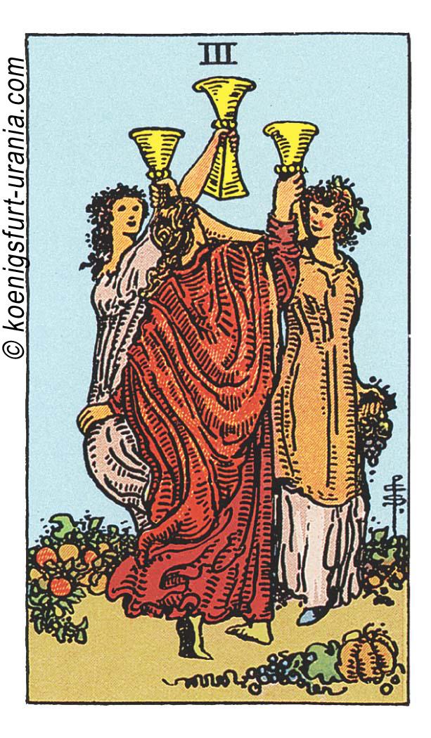 Die Drei der Kelche im Tarot: für Liebe, Beruf, Seelenpartner & Dualseelen