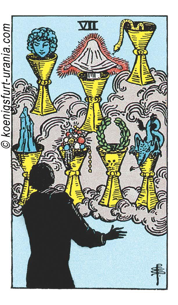 Sieben der Kelche im Tarot: für Liebe, Beruf, Seelenpartner & Dualseelen