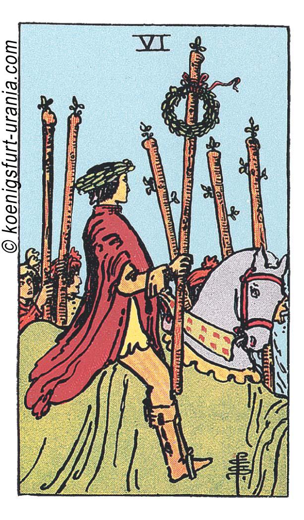 Sechs der Stäbe im Tarot für Liebe, Sexualität, Beruf, Dualseelen & Seelenpartner im Tarot