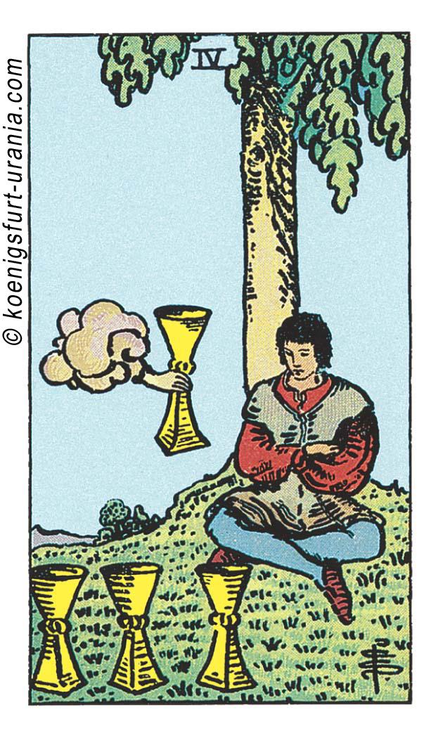 Die Vier der Kelche im Tarot: für Liebe, Beruf, Seelenpartner & Dualseelen