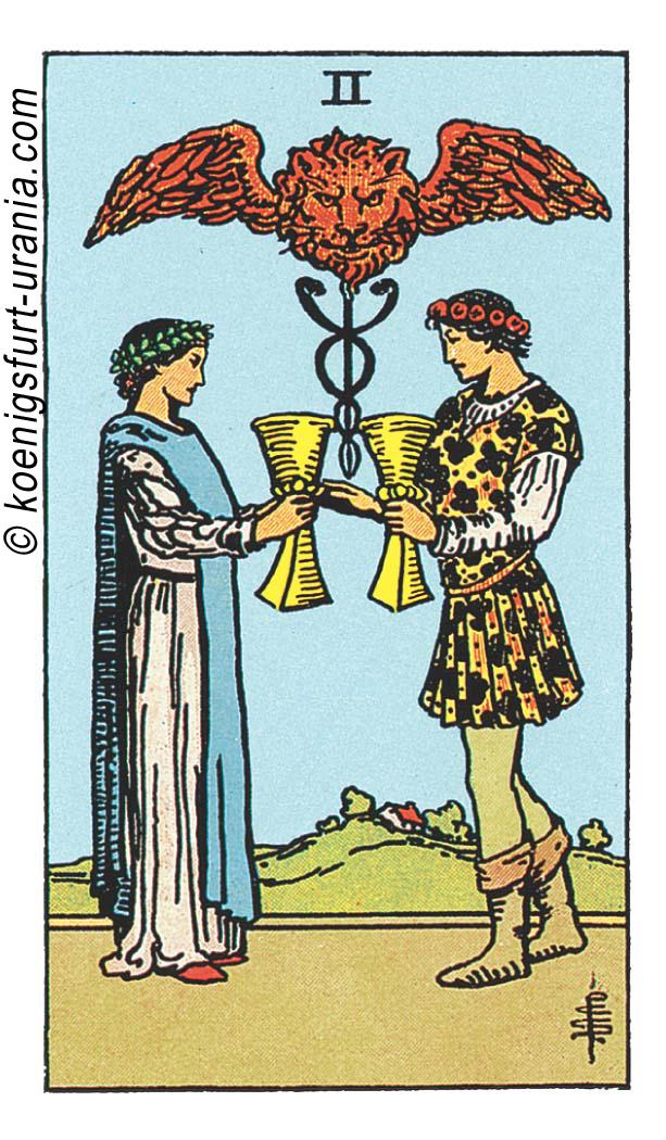 Die Zwei der Kelche im Tarot: für Liebe, Beruf, Seelenpartner & Dualseelen