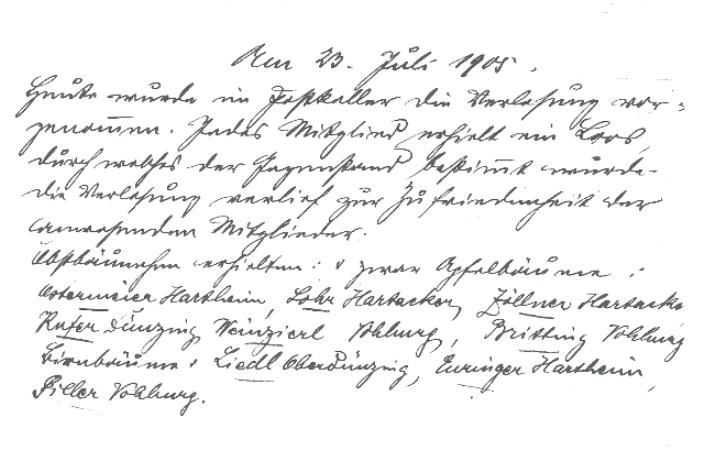 Bericht über die Versammlung vom 23.07.1905, auf der die Verlosung stattfand.