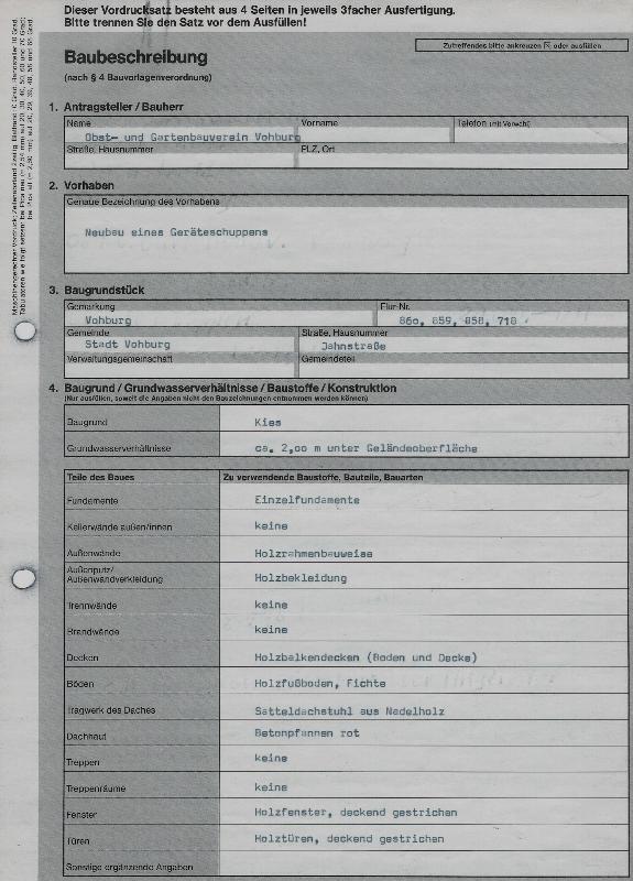 ausgefülltes Formular, eingescannt, zeigt Informationen zum Bauvorhaben des Obst- und Gartenbauvereins