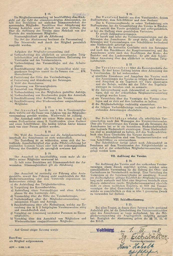 eingescannte Satzung von 1948 - Seite 2