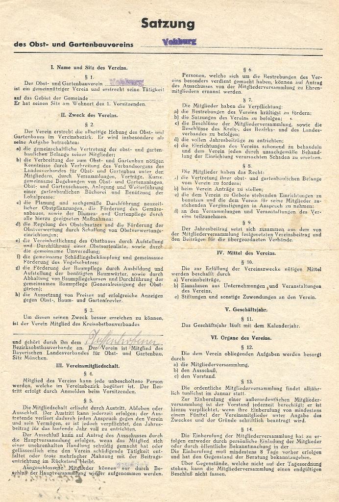 eingescannte Mitgliedersatzung von März 1948 - Seite 1 -