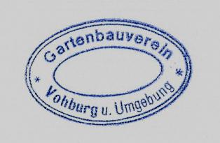 """zu sehen ist derStempel:  """"Gartenbauverein Vohburg und Umgebung"""""""