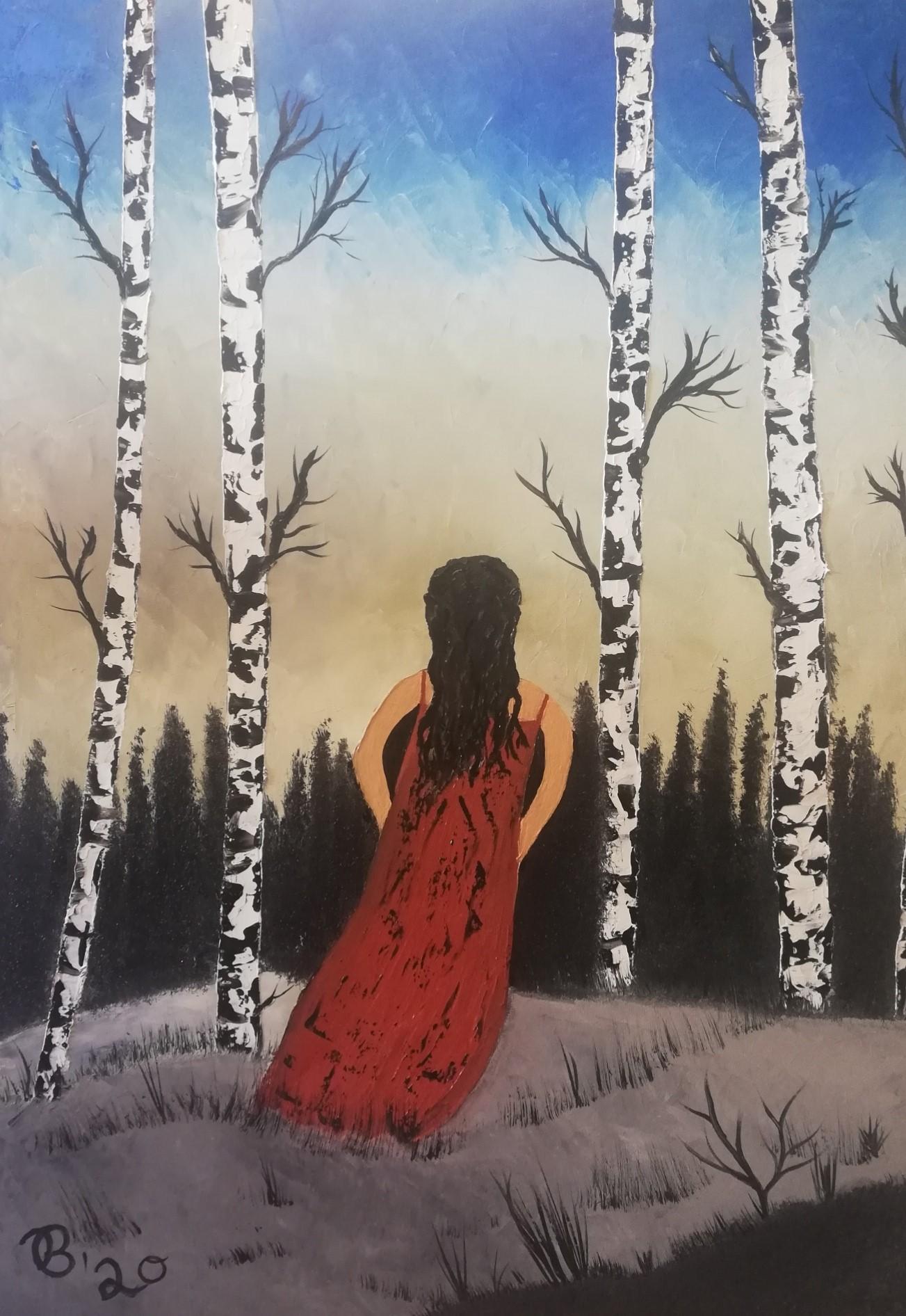 (48)     Frau im Birkenwald      60 cm x 80 cm