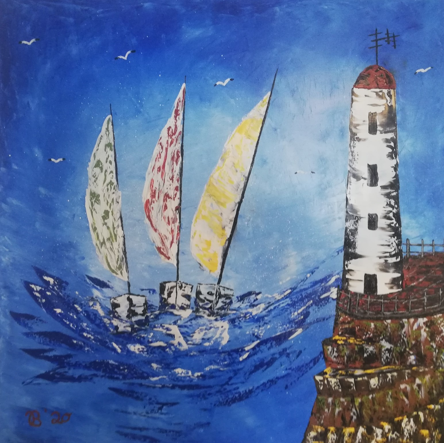 (35)     Segelschiffe am Leuchtturm     80 cm x 80 cm
