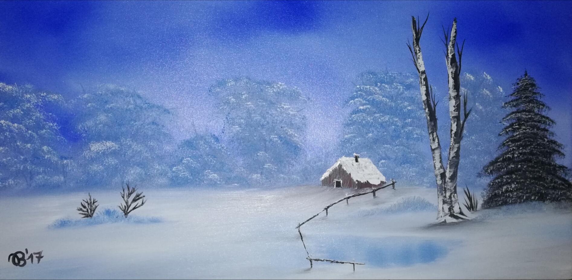 (77)     Winter am See     80 cm x 40 cm
