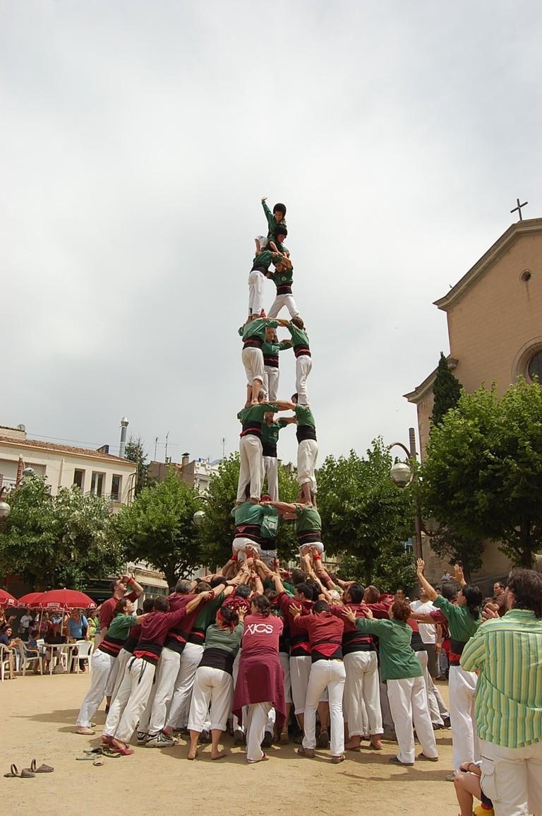 Castellers de Sant Cugat amb els Xics de Granollers