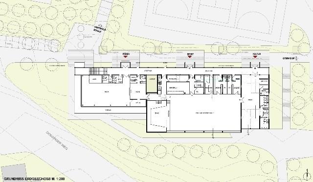 Act - Grundriss - Erdgeschoss Neubau Ganztagesbetreuung/Mensa - Neresheim