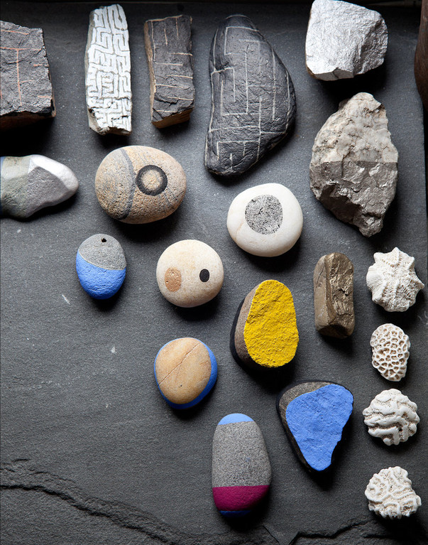 East Village Apartment - Painted Rocks by Eve Ashcraft, Photograph © Trevor Tondro for the New York Times