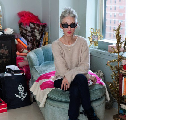 Linda Rodin in her perfect pale blue New York apartment
