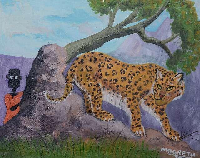 Gemalt von Magreth John Liwembe aus Dar es Salaam, Tanzania (Ölfarbe auf Leinwand)
