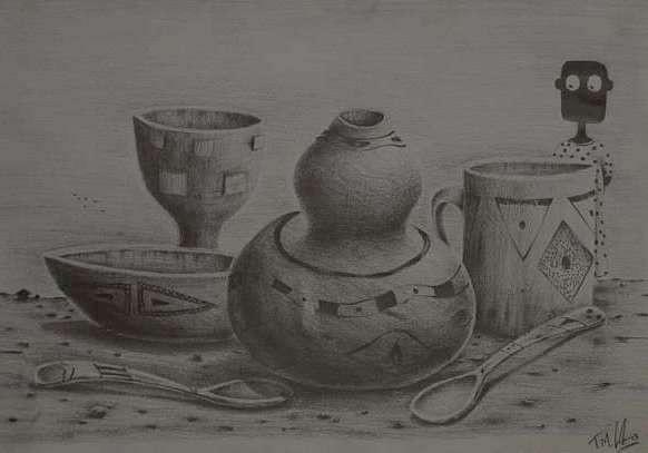 NALA im Souvenierladen von Tafadzwa Mitchell Gatsi, Bleistiftzeichnung im A4 Format )