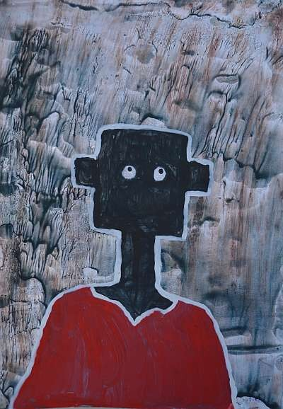 NALA im Regen, von Nompilo Nkoma, gemalt mit den Füssen, A4, Wasserfarbe auf Papier