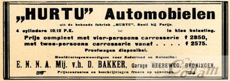 Een Nederlandse advertentie voor Hurtu uit 1912.