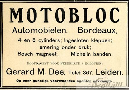Een Nederlandse advertentie voor Motobloc uit 1912.
