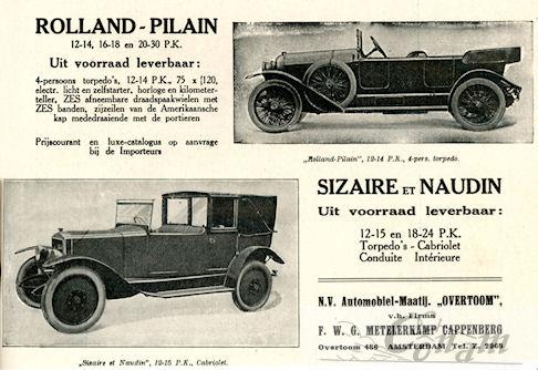 Een Nederlandse advertentie voor Rolland Pilain uit 1922.