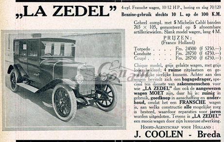 Een Nederlandse advertentie voor Zedel uit 1922.
