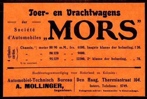 Nederlandse advertentie voor Mors uit 1909.