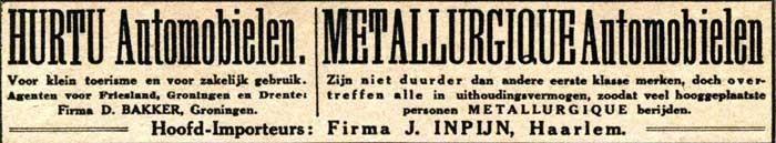 Nederlandse advertentie voor Hurtu uit 1913.