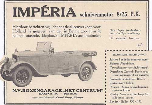 Een Nederlandse advertentie voor Impéria uit 1927.