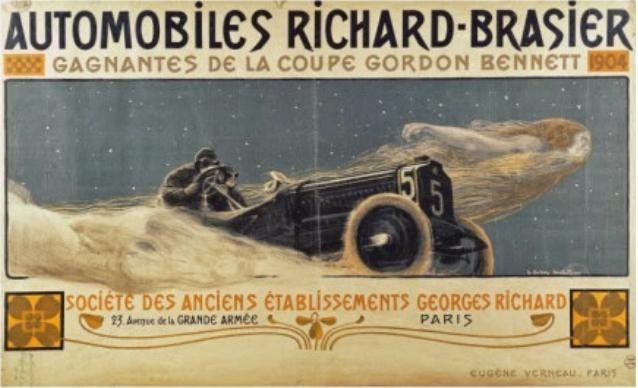 Een affiche voor Brasier uit 1905 van Henri Bellery-Desfontaines.