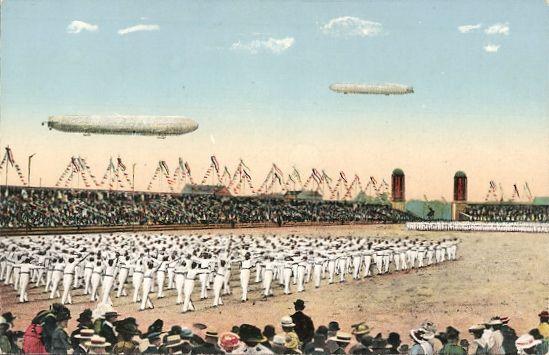 Leipzig Turnfest 1913 mit Zeppelinen