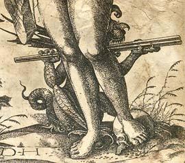 Der Teufel mit einem Kloben auf einer alten Radierung