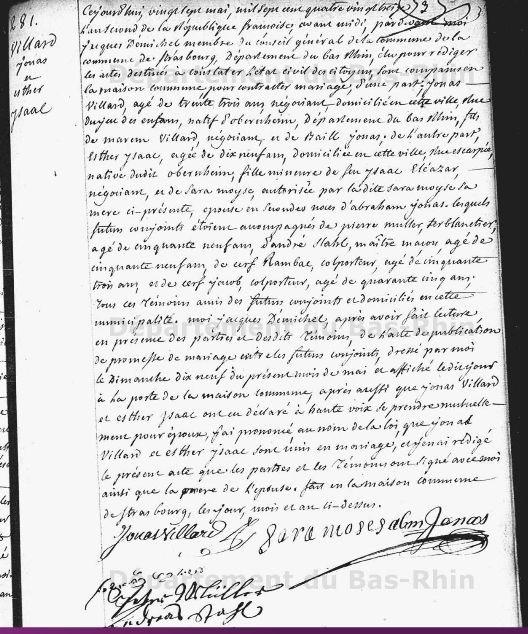 Acte de mariage de Jonas Villard avec Esther Isaac 27 mai 1793 Strasbourg