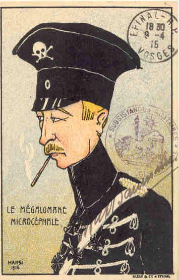Carte postale germanophobe, dessin de Hansi de 1916, éditée par Klein