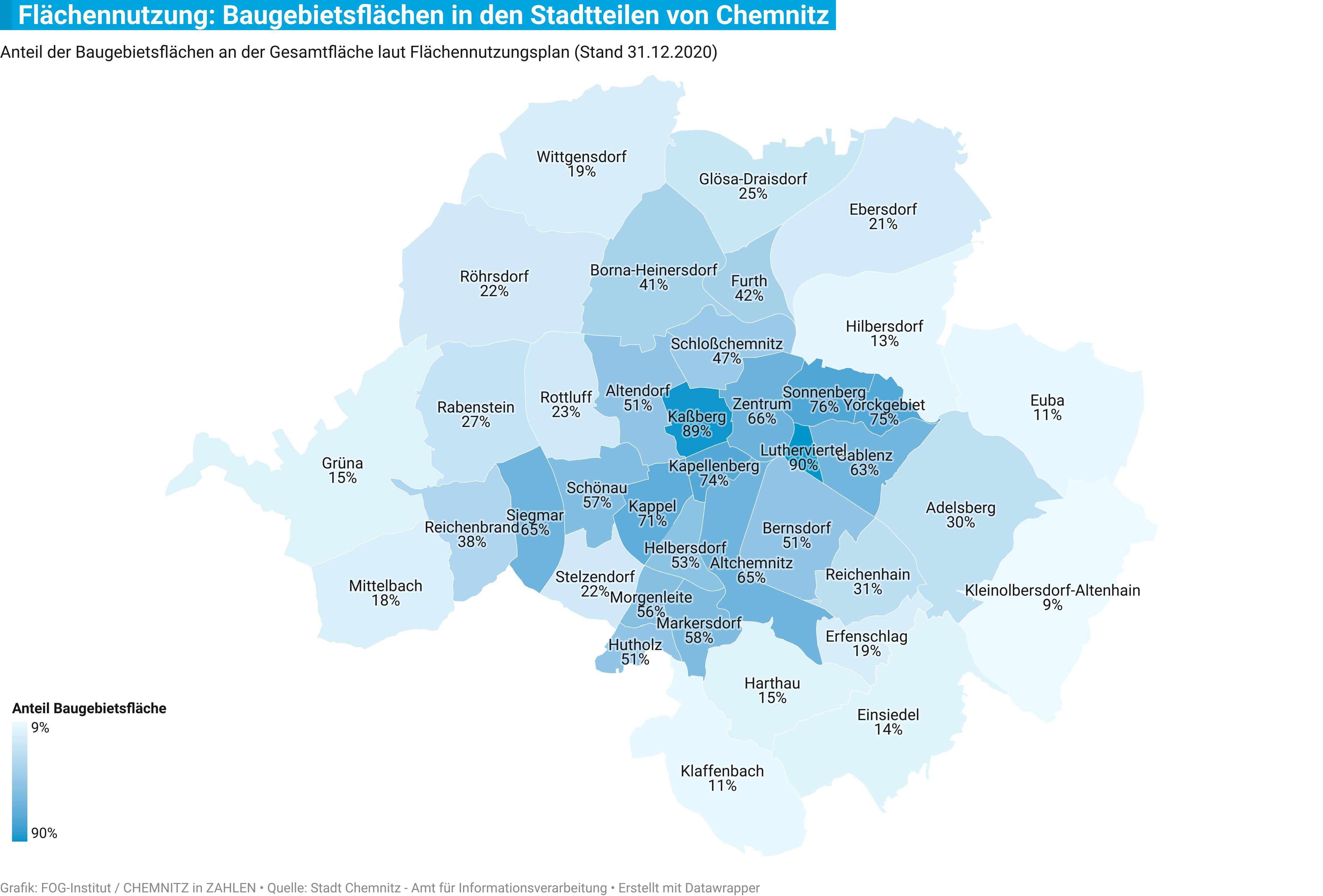 Karte der Chemnitzer Stadtteile
