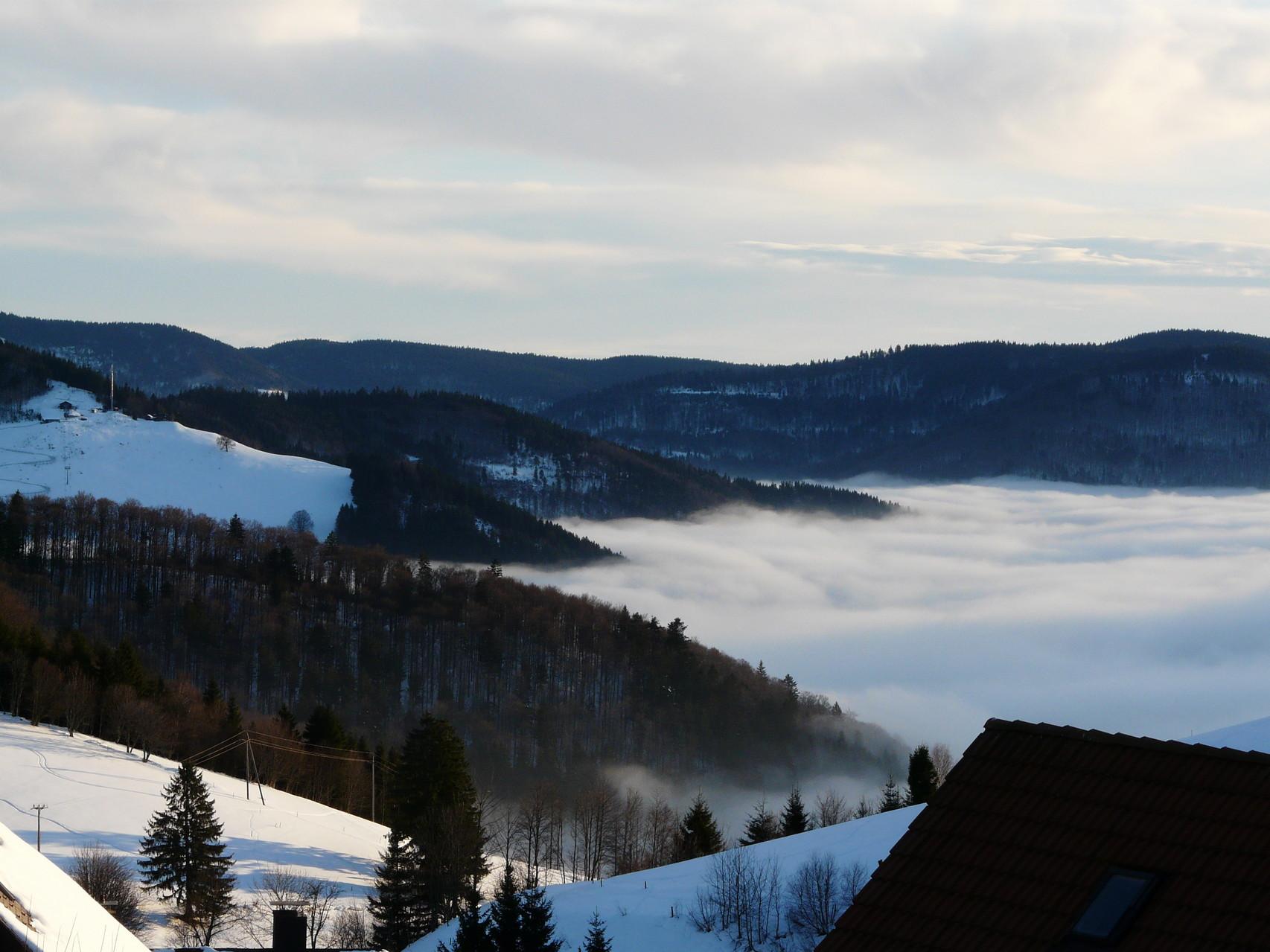 Blick von unserem Haus ins Wiesental, das versinkt im Nebel